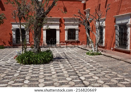 Secluded courtyard of the 18th century baroque style Spanish colonial house Casa del Moral in Arequipa, Peru - stock photo