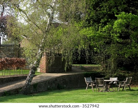 Secluded Garden Table - stock photo