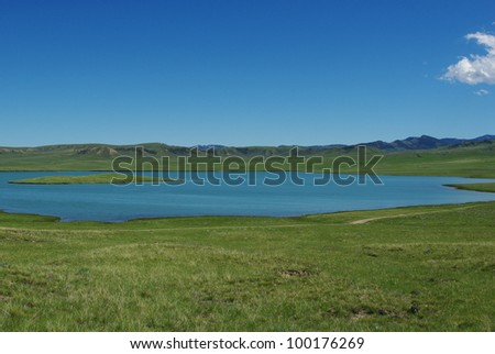 Secluded lake in Wyoming - stock photo