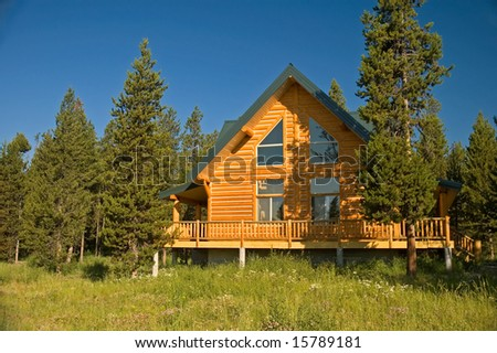 Secluded log cabin in the forest. - stock photo