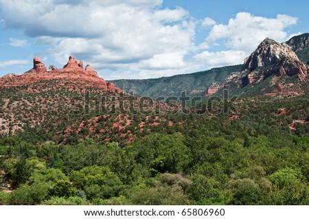 secnic red sandstone landscape from sedona, arizona - stock photo