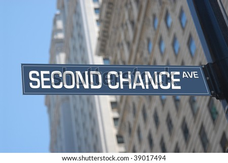 Second chance Avenue road sign - stock photo