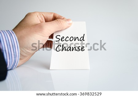 Second chanse text concept isolated over white background
