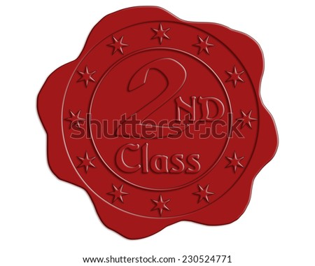 Second Class Red Wax Seal with Stars - stock photo