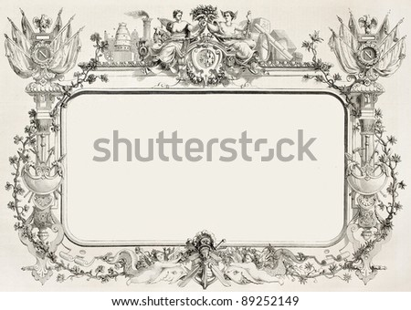 Second empire framed decoration. Created by Reiber, published on L'Illustration, Journal Universel, Paris, 1858 - stock photo