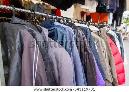 Rows Clothes Clothes On Hanger Store Stock Photo 527117110 ...