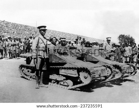 Second Italo-Ethiopian War Ethiopian soldiers in captured Italian tanks at an encampment near Jijiga in the south.