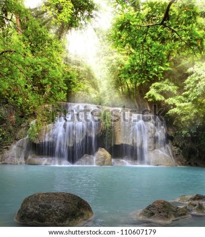 Second level of Erawan Waterfall in Kanchanaburi Province, Thailand - stock photo