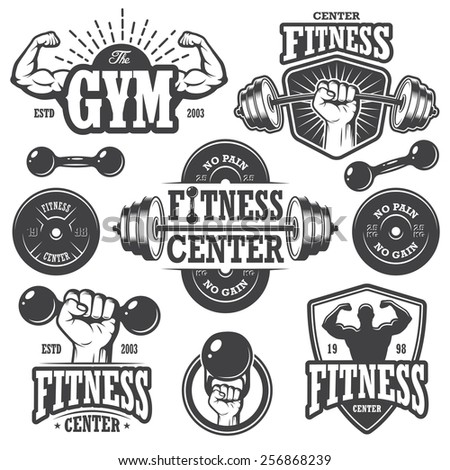 Second set of monochrome fitness emblems, labels, badges, logos and designed elements. - stock photo