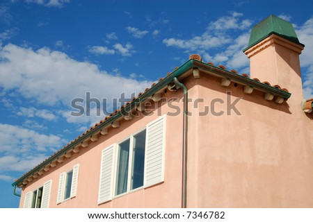 Second-story windows of beach-front vacation property; Mission Beach; San Diego, California - stock photo