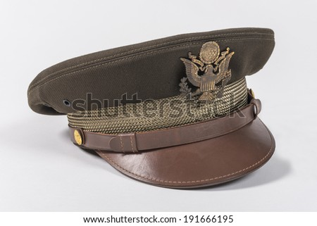 Second WWII Aviator Hat This is an original pilot cap worn by a military in the second world war in the USA aviation team.  - stock photo