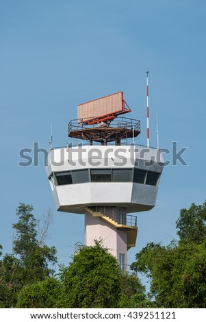 Secondary surveillance radar tower for tracking postion of the aircraft behind the trees