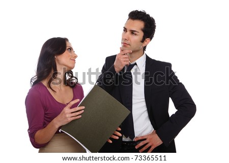 Secratary asking for boss's suggestion on chaning the document - stock photo