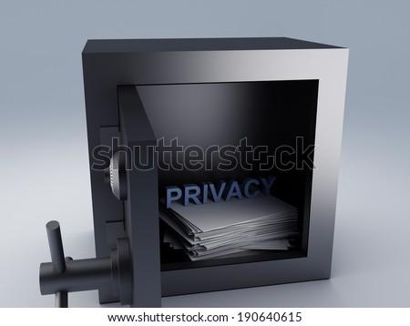 secret archive paper in steel safe box, 3d illustration. - stock photo