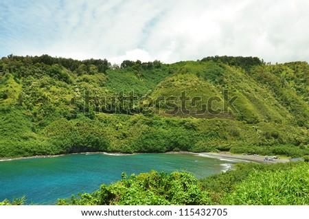 secret beach on maui island, hawaii - stock photo
