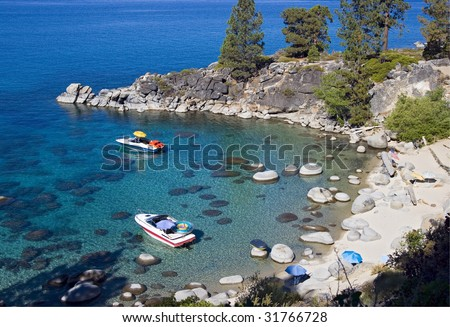Secret Cove, a nude beach in Lake Tahoe, Nevada - stock photo
