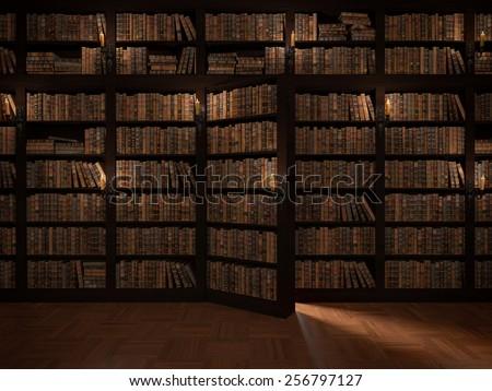 Secret door in the bookcase. Mysterious library. Gaining knowledge through reading & Secret Door Bookcase Mysterious Library Gaining Stock Illustration ...
