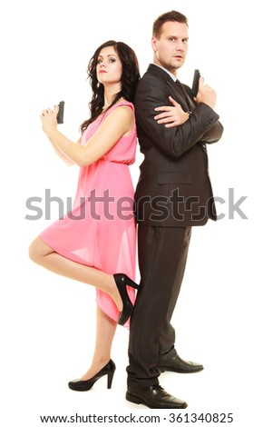 Secret investigation. Man detective agent criminal and sexy spy woman with gun. Isolated on white background. - stock photo