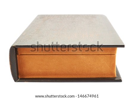 Secret old book shaped casket isolated over white background - stock photo