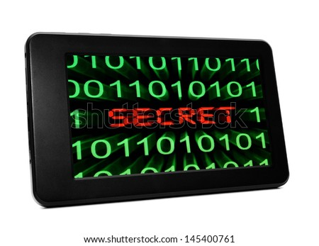 Secret text on pc tablet - stock photo