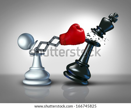 Secret weapon business concept with a chess pawn punching and destroying the competition king piece with a hidden red boxing glove as a metaphor for innovative corporate strategy and planning to win. - stock photo