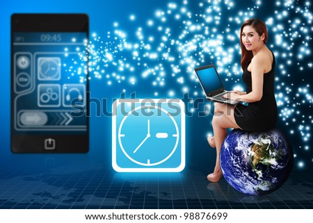 Secretary and Clock icon from mobile phone : Elements of this image furnished by NASA - stock photo