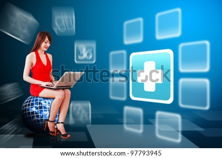 Secretary and First aid icon : Elements of this image furnished by NASA - stock photo