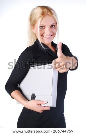 Secretary, businesswoman, isolated - stock photo