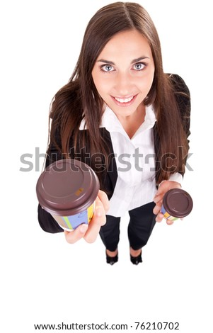 secretary giving coffee boss, isolated on white background - stock photo