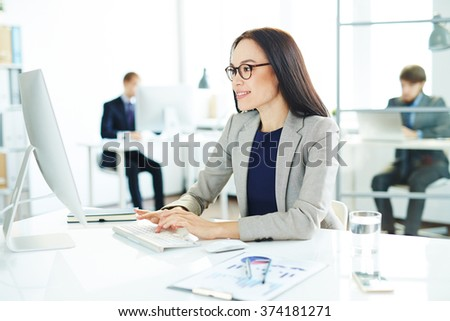 Secretary in office - stock photo