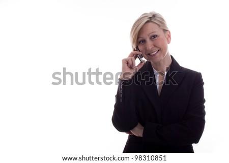 Secretary on the phone has satisfied - stock photo