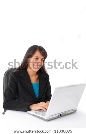 Secretary or Businesswoman working with laptop .
