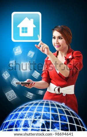 Secretary touch House icon from mobile phone : Elements of this image furnished by NASA - stock photo