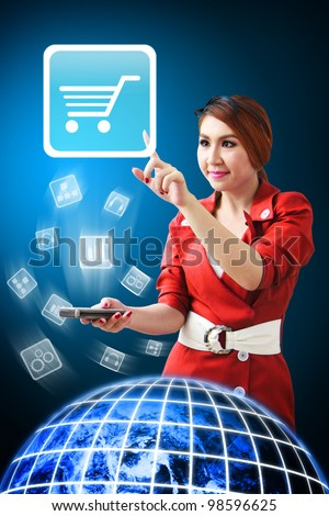 Secretary touch the Cart icon from mobile phone : Elements of this image furnished by NASA - stock photo