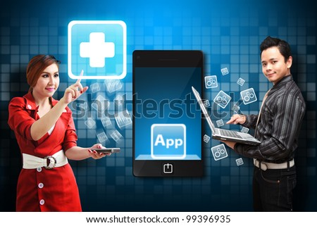 Secretary touch the First Aid icon from mobile phone - stock photo