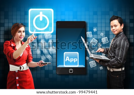Secretary touch the Power icon from mobile phone - stock photo