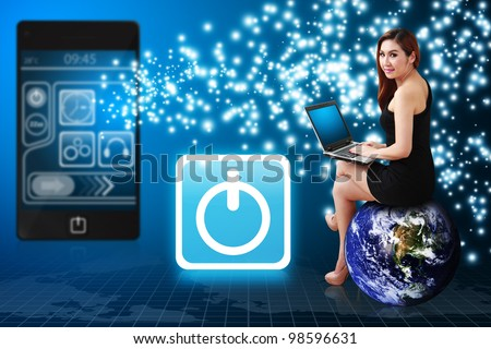 Secretary using notebook computer and Power icon : Elements of this image furnished by NASA