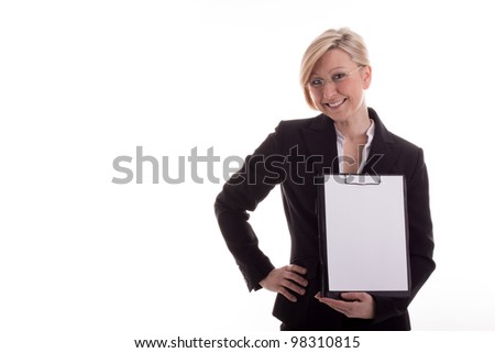 Secretary with a notepad - stock photo
