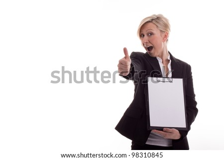 Secretary with a notepad lifts thumb - stock photo