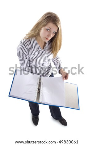 Secretary with file - stock photo