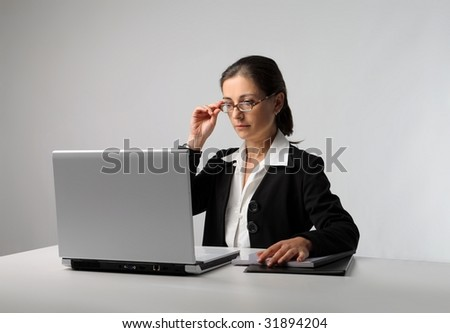 secretary with laptop isolated
