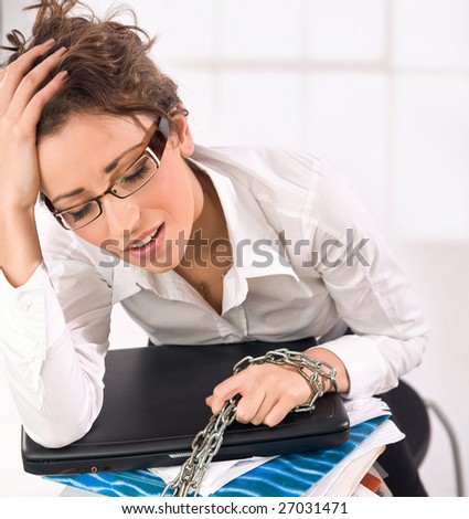 Secretary with lot to do - stock photo