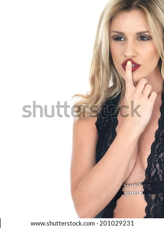 Secretive Young Woman - stock photo