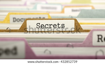 Secrets Concept on File Label in Multicolor Card Index. Closeup View. Selective Focus. 3D Render.  - stock photo