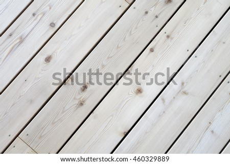 Section of a new  terrace floor,  built of wooden planks.