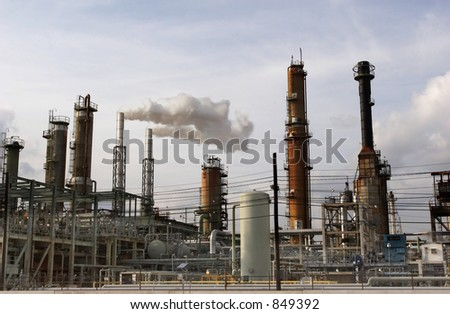 Section of an oil refinery - stock photo