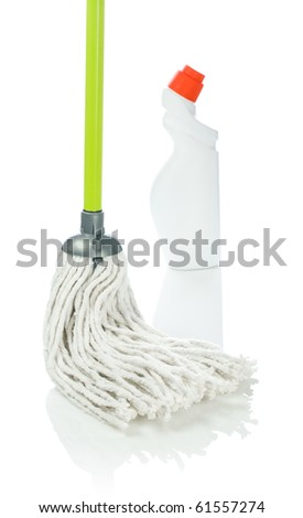 section of cleaning mop with bottle of cleaner