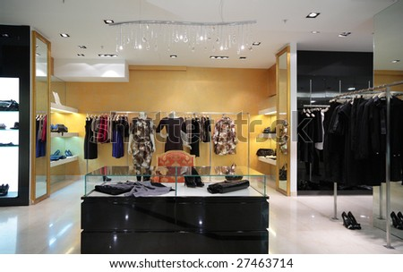 Section of female  clothing in shop - stock photo