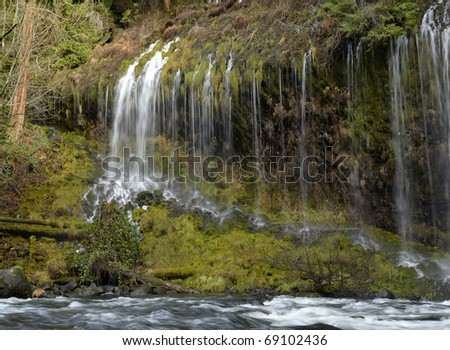 Section of Mossbrae Falls in Northern California - stock photo