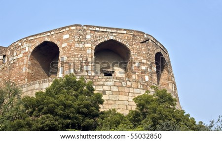 Section of the Old Fort [Purana Qila] in Delhi. Can be seen from the grounds of Delhi Zoo.